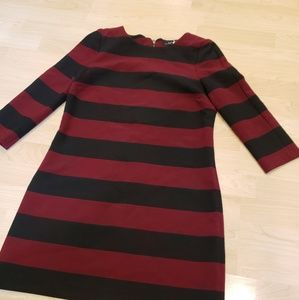Zara burgundy and black striped dress small. Bin D